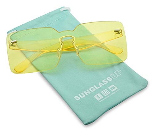 a7ba8b62d34 Colorful Bold Oversize One Piece Mono Block Full Shield Rimless Color  Transparent Sunglasses (Yellow