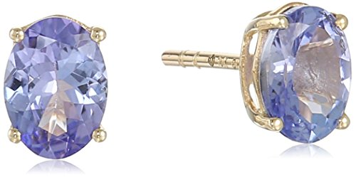 10k Yellow Gold Tanzanite Oval Stud Earrings