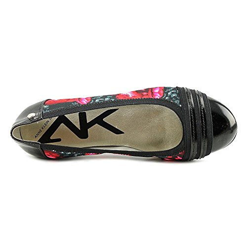 Anne Klein Womens ATWORTH Cap Toe Ballet Flats Red Black Floral Tjwpst