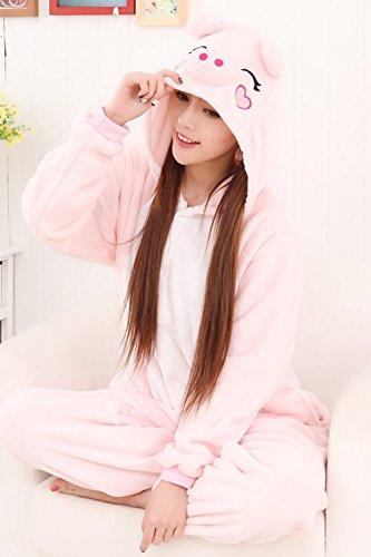 Babyonlinedress Pijama de adulto de una pieza con diseño de animal sudadera de disfraz de cartoon holgado y cómodo con capucha cerdito rosa