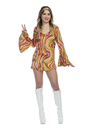 Charades Little Girl's Rainbow Lights Disco Diva Childrens Costume, as Shown, Large ()