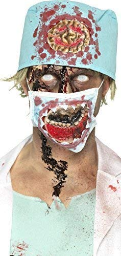 Ladies Mens Zombie Surgeon Hat Mask Latex Special Effects Instant Halloween Fancy Dress Costume Accessory Kit ()