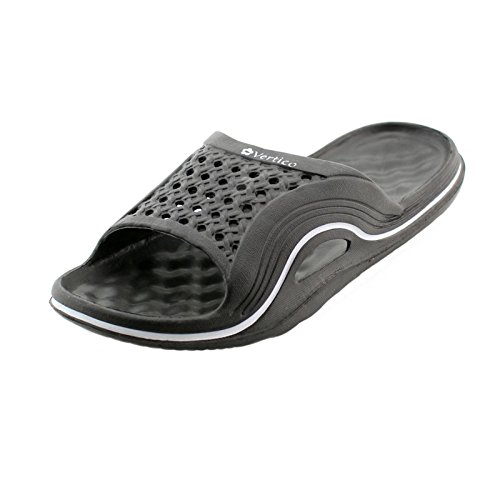 Vertico Slide-on Women's Shower and Poolside Sandal (7/8, Black)