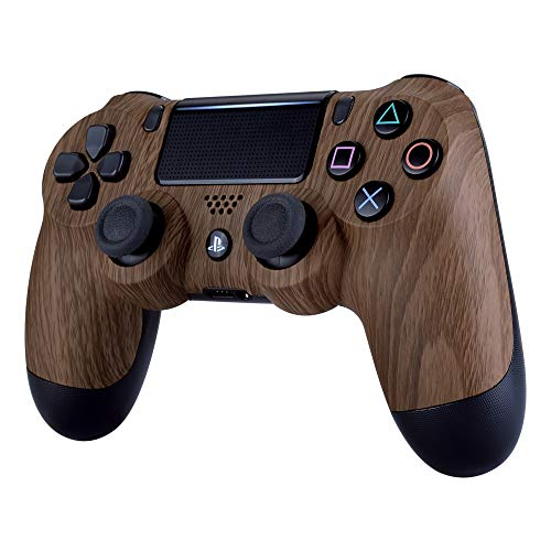 eXtremeRate Patterned Soft Touch Replacement Front Housing Shell Faceplate for PS4 Slim PS4 Pro Controller JDM-040 JDM-050 JDM-055 (Wood Grain)