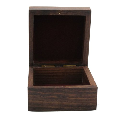 Wooden Jewelry Box Handcrafted Floral Art Inlay 4x4x2.25 Inches