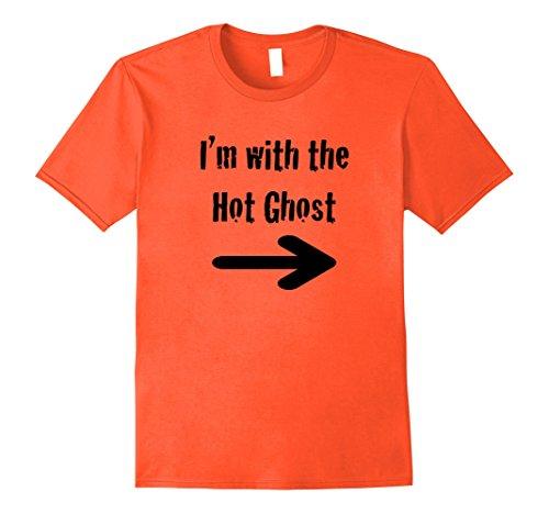 Mens Fun Girls, Men, Singles Halloween I'm with Hot Ghost Shirt Large Orange