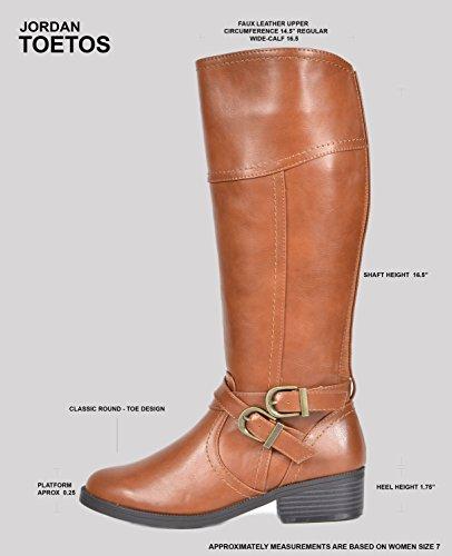TOETOS Women's Knee High Riding Boots Wide Calf
