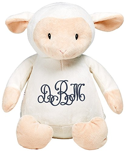 Personalized Stuffed White Lamb with Embroidered Lace Monogram -