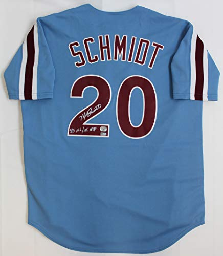 Mike Schmidt Autographed Blue Philadelphia Phillies Jersey - Hand Signed By Mike Schmidt and Certified Authentic by Fanatics - Includes Certificate of Authenticity - Inscribed 80 NL/WS MVP