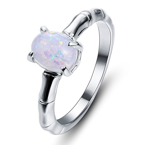 (【MOHOLL】 Natural Moonstone White Gold Plated 925 Sterling Silver Victorian Style Solitaire Ring)