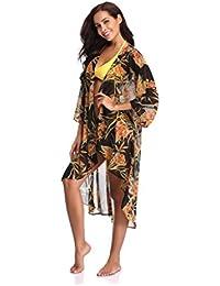 Women's Floral Chiffon Kimono Cardigan Summer Beachwear Swimsuit Cover up