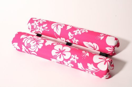 """Vitamin Blue 18"""" Roof Rack Pads Pink Floral - Non Logo (MADE in U.S.A.) AERO PADS"""