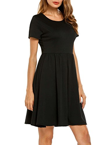 Flare Black Dress Pinsparkle Casual and Print Fit Short Women Floral Sleeve wPqUaT