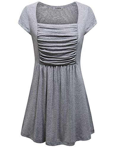JCZHWQU Short Sleeve Shirts for Women, Ladies Tunic Tops Scoop Neck Empire Waist Designer Flowy Tshirt Blouse Mini Dress Wardrobe Boutique Clothing Grey L ()