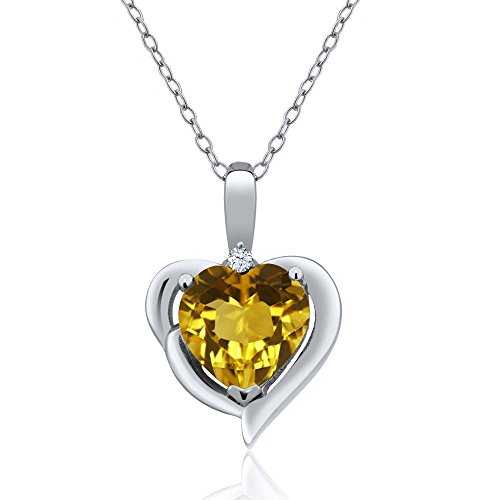 925 Sterling Silver Yellow Citrine and White Topaz Heart Shape Pendant Necklace, 1.62 Ctw with 18 Inch Silver Chain
