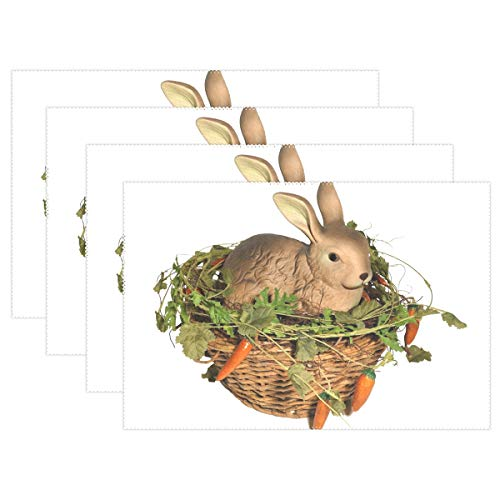 - XINGCHENSS Easter Bunny Bunny in The Basket Easter Osterkorb Placemats Set of 4 Heat Insulation Stain Resistant for Dining Table Durable Non-Slip Kitchen Table Place Mats