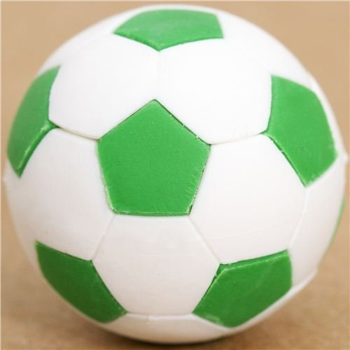 Iwako cool green and white soccer ball eraser by