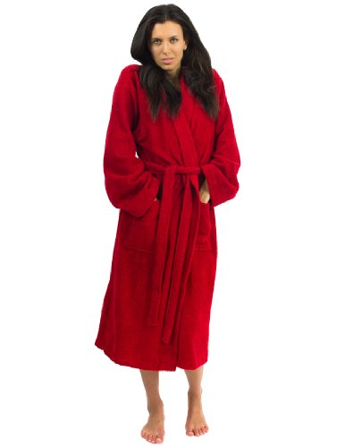 TowelSelections Terry Kimono Bathrobe - Terry Cloth Bath Robe for Women and Men, 100% Turkish Cotton, Made in Turkey (Red, L/XL)