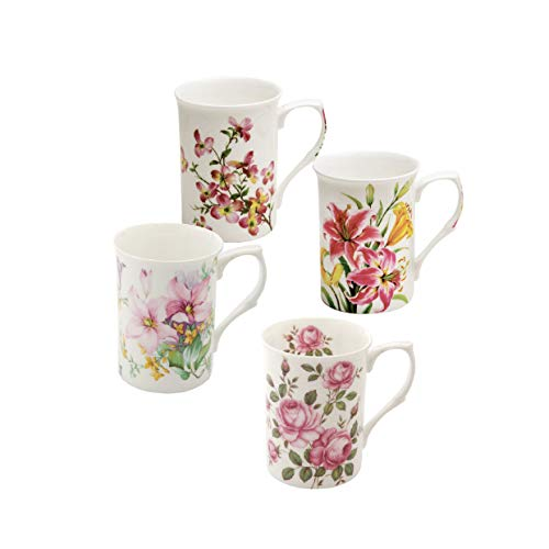 Grace Teaware Bone China Coffee Tea Mugs 9-Ounce (Spring Floral) (Set of 4 Assorted)