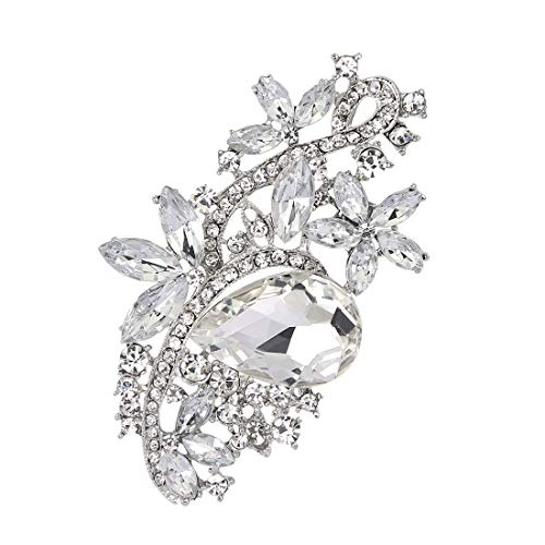 Fiona Jolin Rhine Stone Crystal Flower Leaf Brooch Pin (Clear Silver)