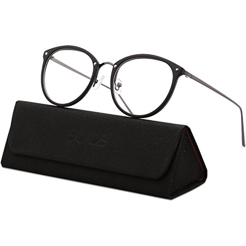 SojoS Round Women Eyeglasses Fashion Eyewear Optical Frame Clear Glasses SJ5969 with Matt Black Frame/Gunmetal -