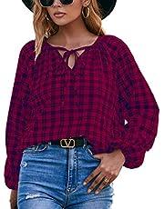 WXDSNH Shirt Tops Dames Casual Lange Mouwen Plaid V-hals Vetersluiting Losse Vintage Print Trui Blouses Herfst Vrouwelijk