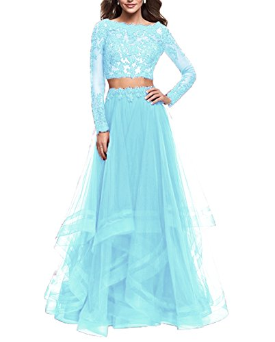 Olivia's Bridal Womens Long Sleeve Prom Dress Appliques Two Piece Formal Evening Gowns Tull Bridal 4 Piece