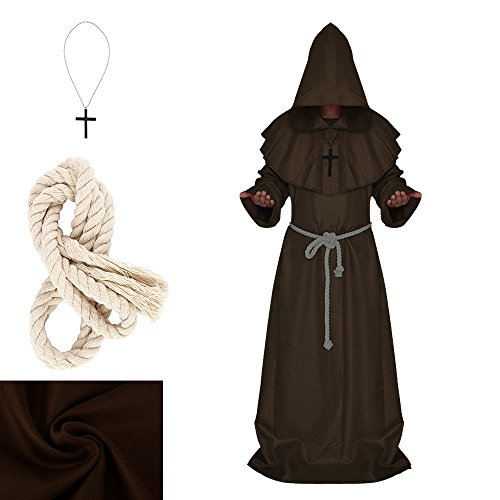 Halloween Monk Costume Adult Friar Medieval Hooded Monk