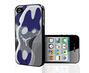 """Black and White Designer Shoe """"Low Concord 11's"""" Purple Foot Print Hard Snap on Phone Case (iPhone 5/5s)"""