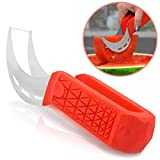 Watermelon Slicer & Cutter by Sleeké - New Extended Silicone Cushioned Handle Made to Slice and Serve with Ease - Stainless Steel - No Mess, Less Stress