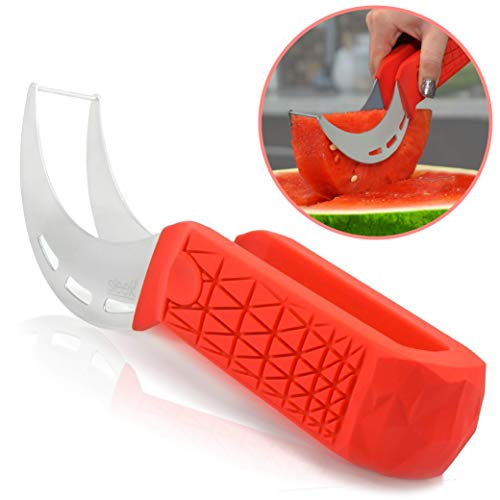 Watermelon Slicer & Cutter by Sleeké - New Extended Silicone Cushioned Handle Made to Slice and Serve with Ease - Stainless Steel - No Mess