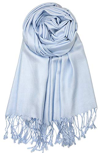 Achillea Large Soft Silky Pashmina Shawl Wrap Scarf in Solid Colors (Light Blue)