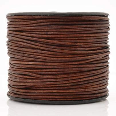 Leather Cord-3mm Round-Soft-Natural Red Brown-50 Meters