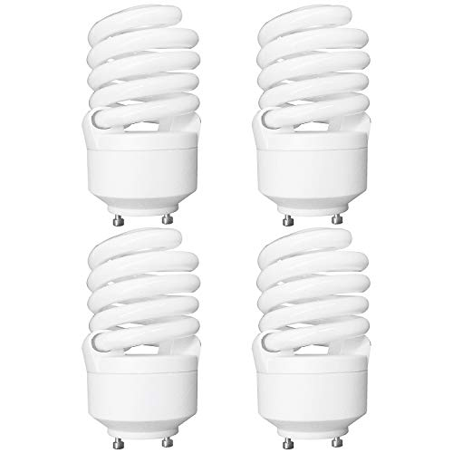 Luxrite LR22322 (4-Pack) CF23 23-Watt CFL T2 Spiral Bulb, Equivalent to 100W Incandescent, Cool Light 4100K, 1600 Lumens, GU24 Bi-Pin Base