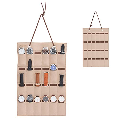 Beige Strap Watch - PACMAXI Watch Band Hanging Storage Organizer, Watch Display Storage Roll Holds 24 Watches Expandable for Most Sizes of Watch Bands,Organizer for Watch Band Straps Accessories (Beige)
