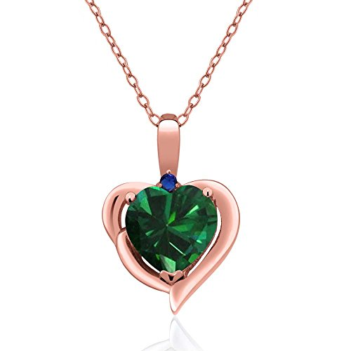 Gem Stone King 1.51 Ct Heart Shape Green Simulated Emerald 18K Rose Gold Plated Silver Pendant ()