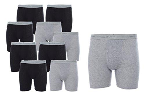 Underwear Brief Boxer Knit (Hanes Men's 10-Pack Boxer Briefs with Comfort Flex Waistband, Black/Grey, Medium)