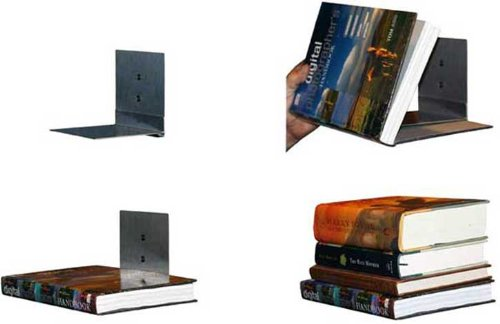 Floating Bookshelves, Concealed Invisible, Stainless, Set of 4