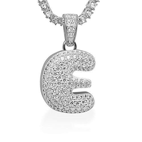 925 Sterling Silver White Gold-Tone Iced Out Hip Hop Swag Bling Bubble Letter E Pendant with 16'' 1 Row Chain by iRockBling