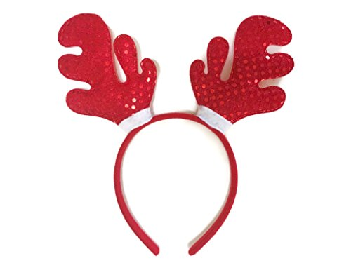 MeeTHan Christmas Headband Reindeer Antlers Clips Santa Claus Hats : H5 (Reindeer Red-Sequin)