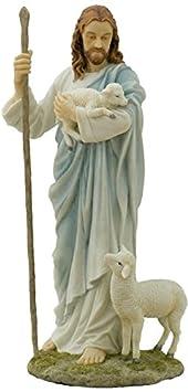 11.38 Inch Jesus The Shepherd Decorative Figurine, Pastel Color