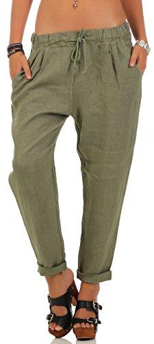 Di Da Malito Oliva Elastica Donna Fascia Lino Con Svago Pantaloni Panno 6816 5X7Aqx6w47