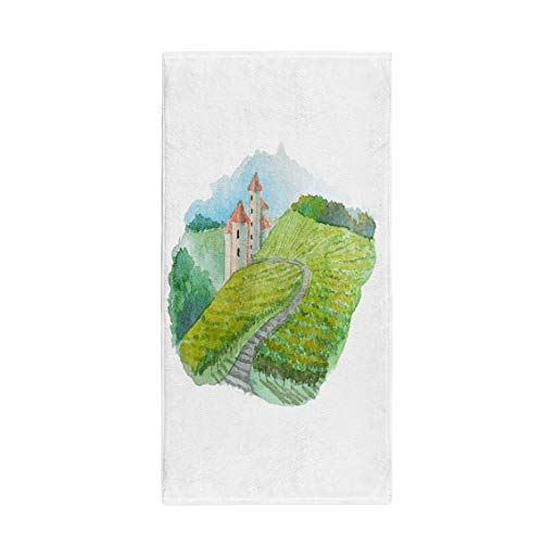 (Semtomn 30 x 60 Inches Bath Towel Green Watercolor Vineyard Landscape Scene French Wine Label Raster Soft Absorbent Travel Guest Decor Hand Towels Washcloth for Bathroom(One Side Printing))
