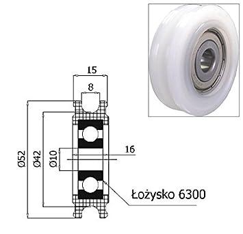 Zabi Nylon Seilrolle d= 52 mm fur Seil 8 mm Kunststoffprofilrollen ...