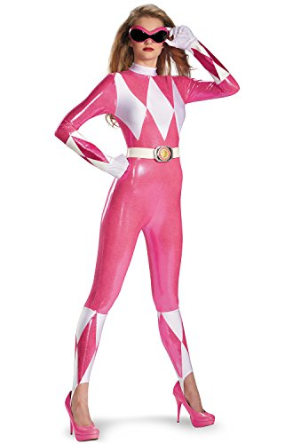 Disguise Sabans Mighty Morphin Power Rangers Pink Ranger Sassy Womens Adult Bodysuit Costume, Pink/White, - Costumes Ranger Power Adults