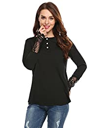 Meaneor Women's Loose Tops O Neck Slit Back Lace Patchwork Henley Casual Blouse Shirt