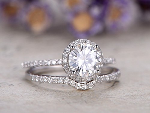 6.5mm Round Forever Classic Charles and Colvard Moissanite Halo Bridal Rings Sets,Solid 14k White Gold Half Eternity Curved Pave SI I-J Diamonds Propose Promise Matching Band Anniversary Jewelry ()