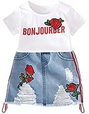 Mitlfuny Primavera Verano Ropa Niños Chica Camiseta de Manga Corta Tops Rosa Bordado Carta Camisa + Falda de Vaquera Destrozada Moda Conjunto Dos Piezas para Bebé Niñas 1-5 Años