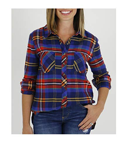 (Grace and Lace Winter Wear Long Sleeve Casual Plaid Flannel Button Down Shirt Women (hot Orange, Small))