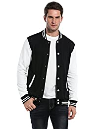 Coofandy Men Fashion Long Sleeve Button Front Cotton Bomber Baseball Jacket